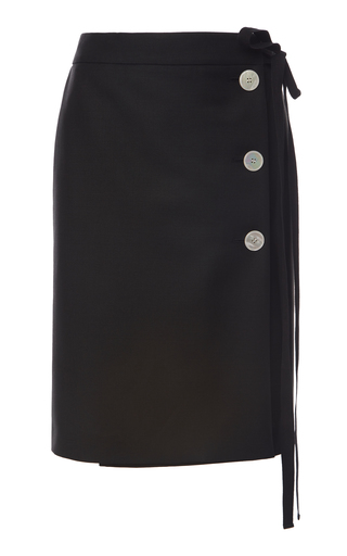 Prada Buttoned Mohair And Wool-blend Midi Skirt In Black
