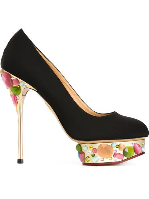 Charlotte Olympia Dolly On-The-Rocks Silk Platform Pumps In Noir Multi Or