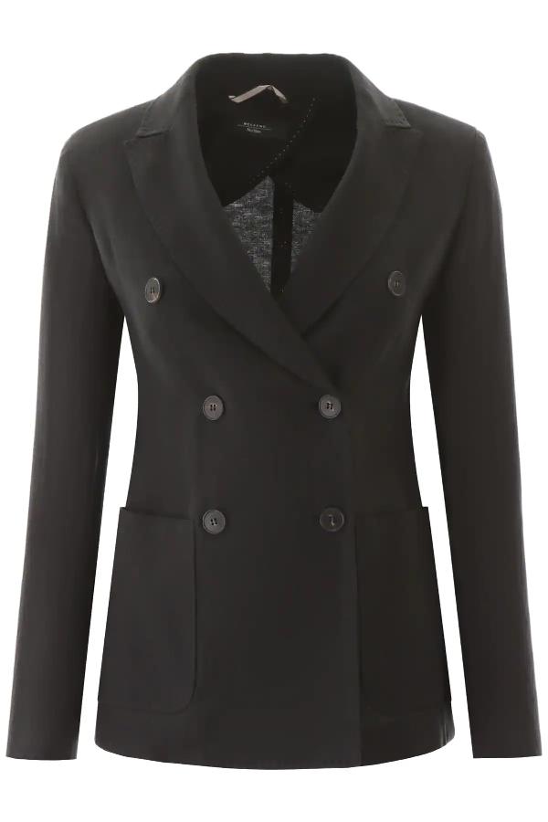 Weekend Max Mara Finnici Linen Blazer In Black