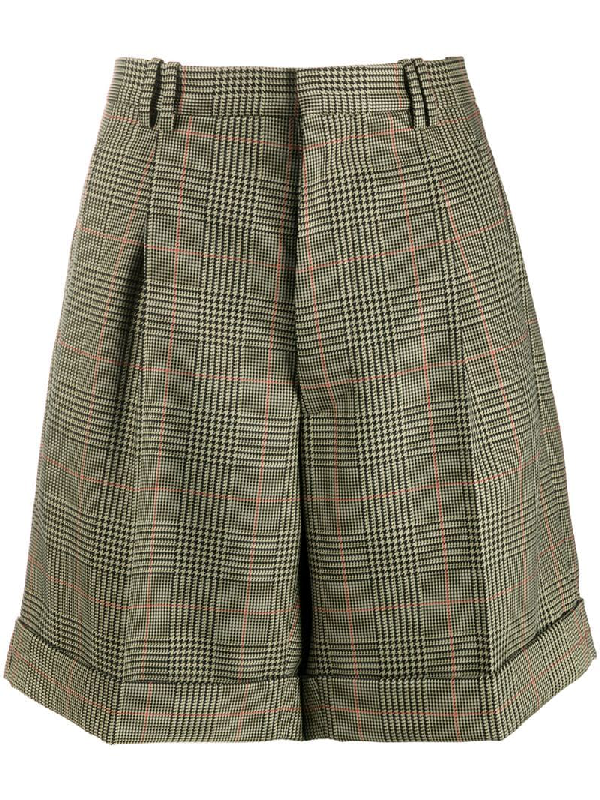 Maison Margiela High-rise Checked Twill Shorts In Green