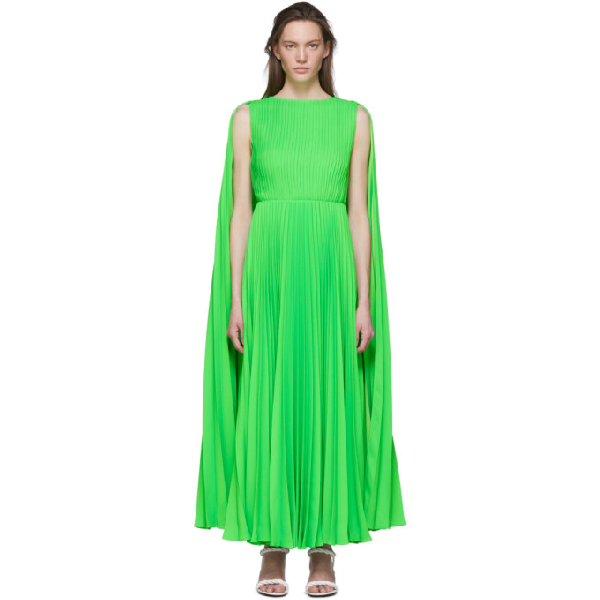 Valentino Caped-shoulder Pleated-crepe Dress In 23h Ngreen
