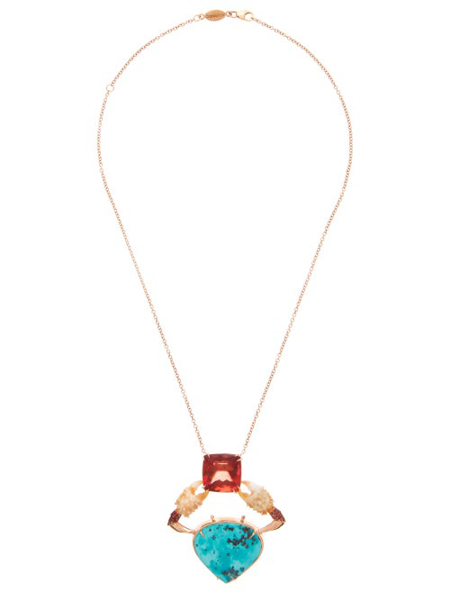 Daniela Villegas Asgaya Gigagei Sapphire & 18kt Rose-gold Necklace In Blue Multi