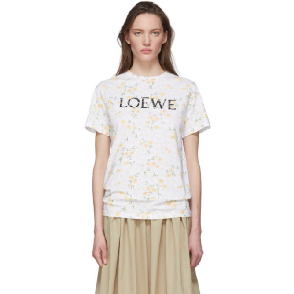 Loewe Branded Floral-print Cotton-jersey T-shirt In 2108 White