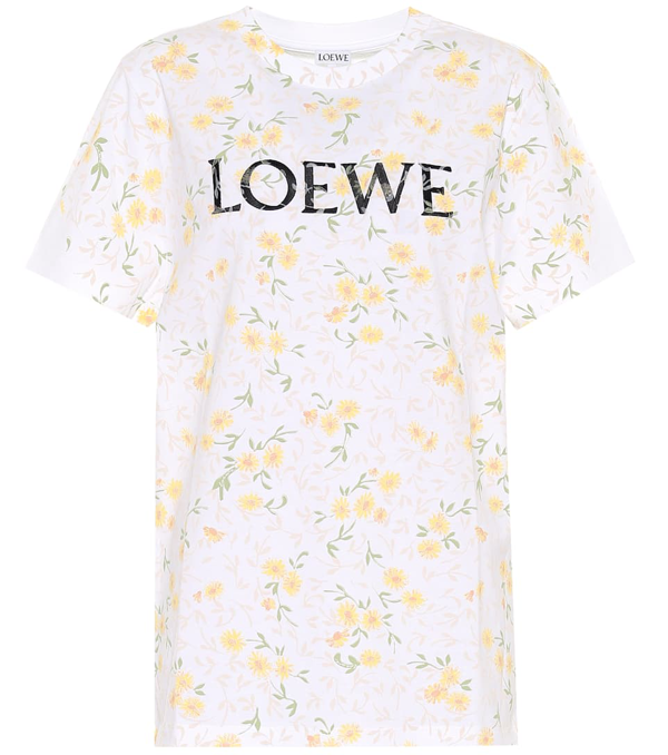 Loewe Branded Floral-print Cotton-jersey T-shirt In White