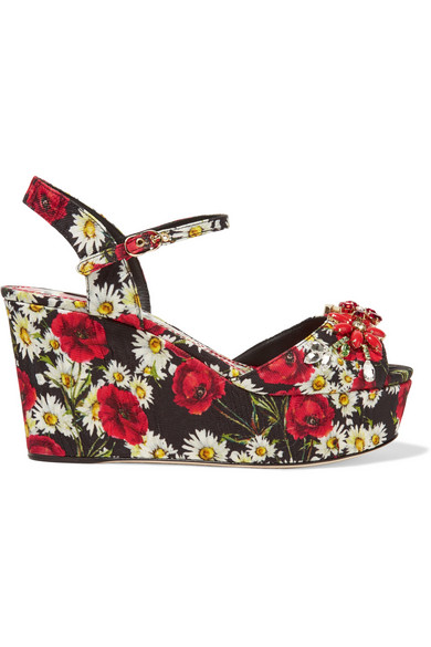 8df87957ba3687 Dolce   Gabbana Wedge Sandal In Printed Brocade With Crystals In Black