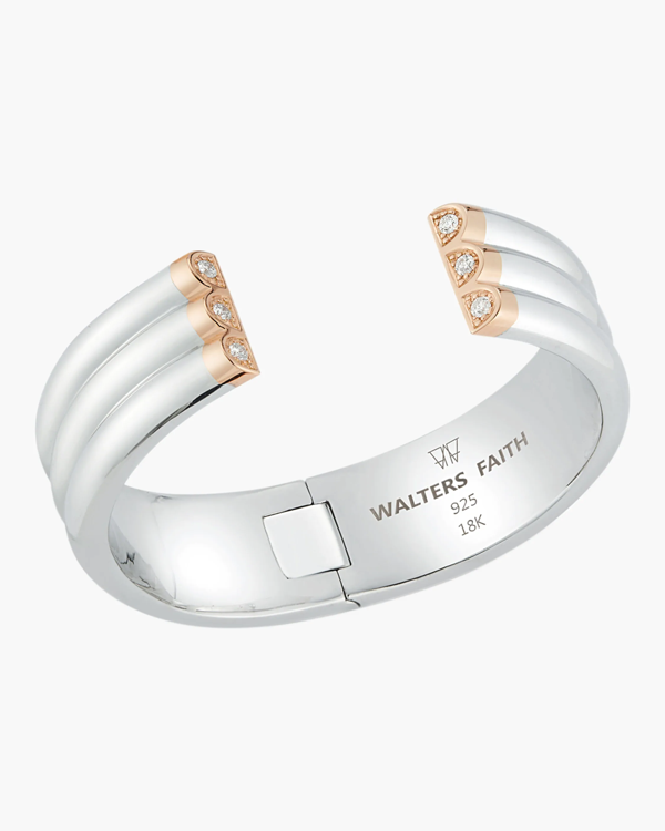 Walters Faith Thoby Diamond Tubular Cuff Bracelet In Sterling Silver