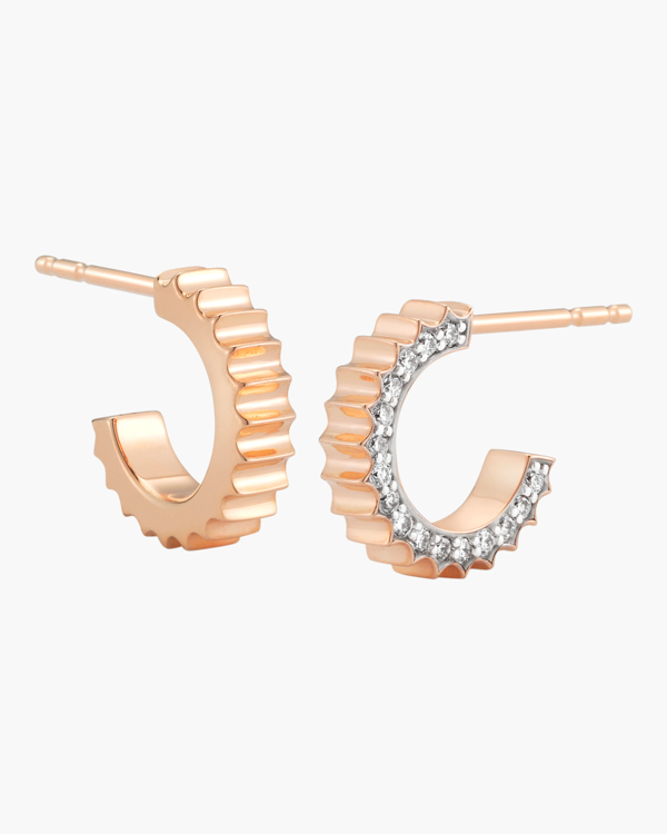 Walters Faith Clive Diamond Fluted Huggie Earrings | Rose Gold