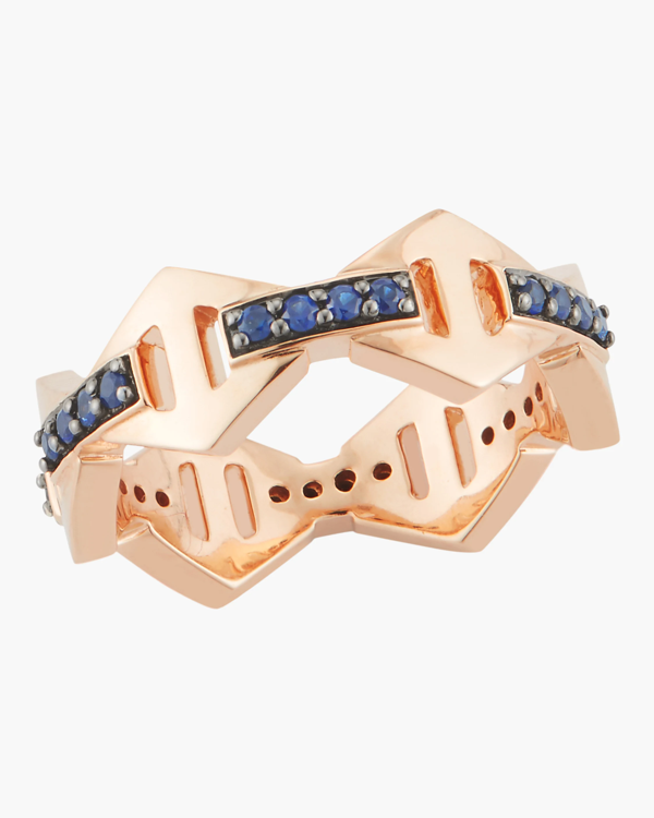 Walters Faith Keynes Blue Sapphire Hexagon Ring In Rose Gold