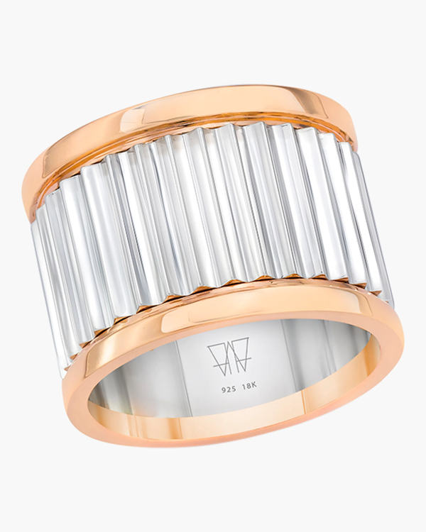 Walters Faith Clive Sterling Silver Fluted Band Ring In Rose Gold