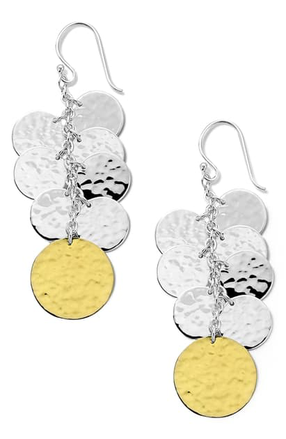 Ippolita Chimera Classico Hammered Silver & 18k Gold Drop Earrings In Yellow Gold/ Silver