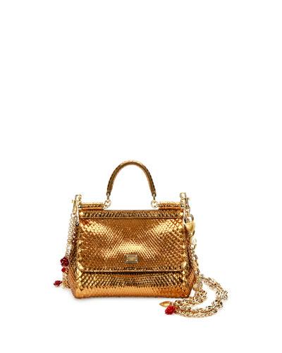 debe5ec82a7b Dolce   Gabbana Miss Sicily Small Metallic Python Satchel Bag