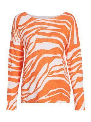 Joan Vass Women's Zebra Sequin Sweater In Orange