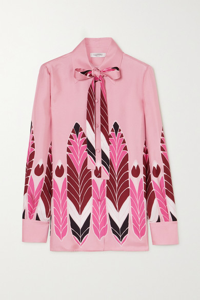 Valentino Feather Print Silk Crepe De Chine Blouse In Pink