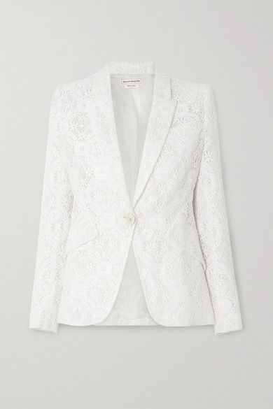 Alexander Mcqueen Cotton Blend Lace Single Breast Jacket In White