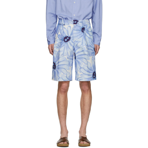 Jacquemus Wide-leg Printed Pleated Cotton Shorts In Blue Flower