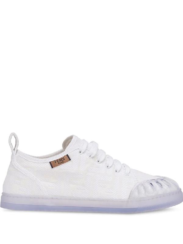Fendi White Promenade Embossed Ff Canvas Sneakers