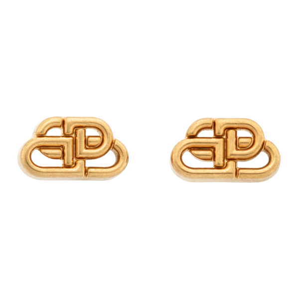 Balenciaga Bb Xs Gold-plated Stud Earrings In 0705 Gold