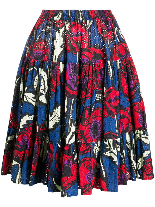 La Doublej Floral Print Tiered Style Skirt In Red