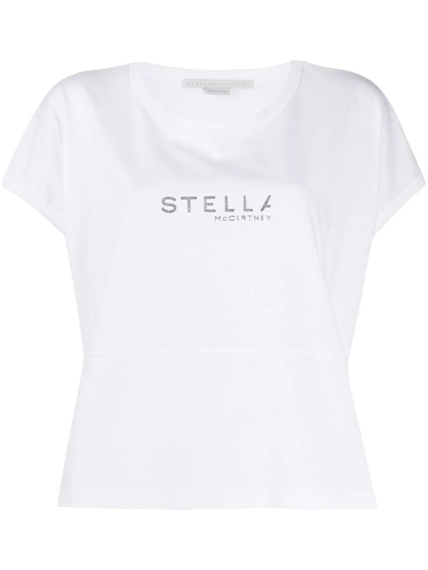 Stella Mccartney Silver Logo Boxy T-shirt In White