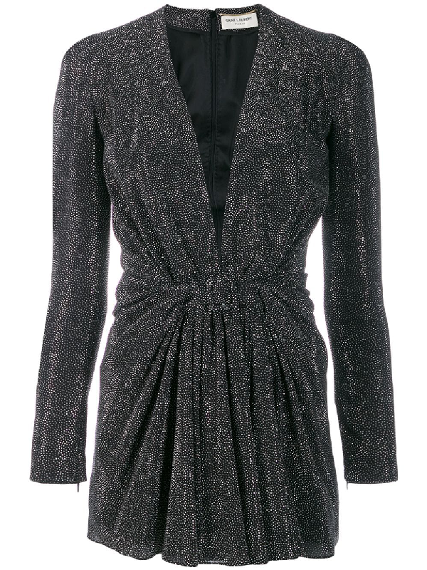 Saint Laurent Deep V-neck Dress With Micro Studs Embellishment In Silver