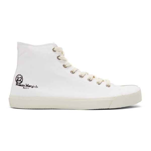 Maison Margiela Vandal Tabi Leather High Top Sneakers In T1003 White