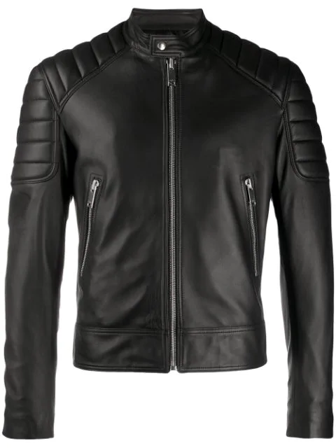 Sandro Leather Jacket With Quilted Trims In Noir