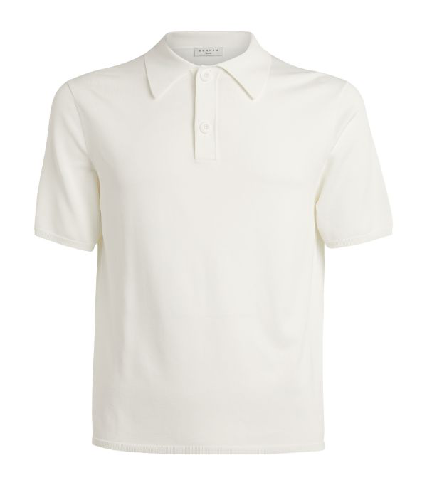 Sandro Fine Knit Polo Shirt With Short Sleeves In Ecru