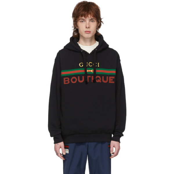 Gucci Logo-print Loopback Cotton-jersey Hoodie In 1082 Blkmul