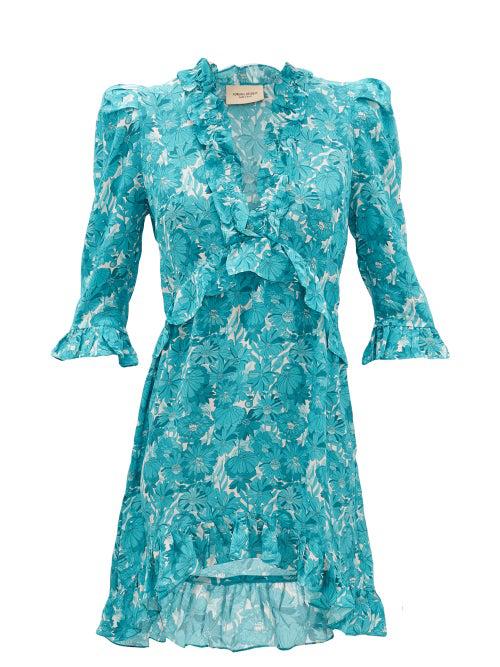 Adriana Degreas Ruffled Floral-print Silk Mini Dress In Blue Print