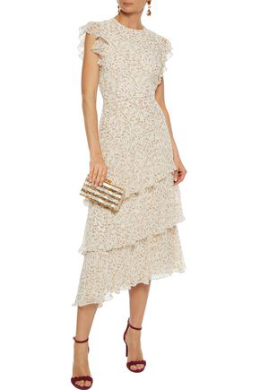 Mikael Aghal Tiered Floral-print Chiffon Midi Dress In Cream