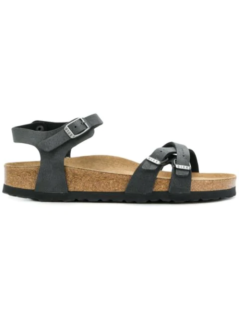 Birkenstock Double Buckle Ankle Strapped Sandals In Black