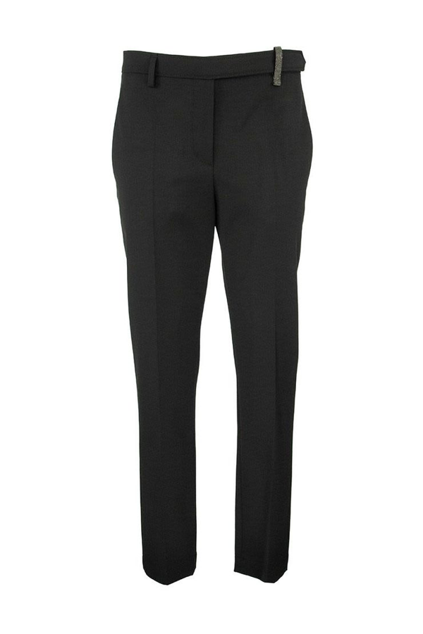 Brunello Cucinelli Techno Virgin Wool Couture Gabardine Boy Fit Cigarette Trousers With Shiny Loop In Black