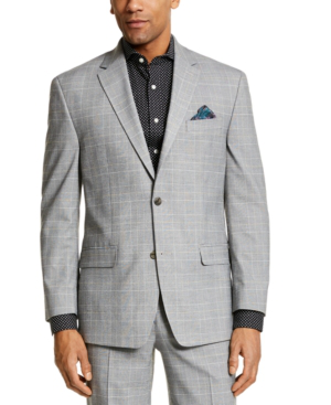 Sean John Men's Classic-fit Suit Separate Jackets In Grey / Yellow Plaid