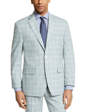 Sean John Men's Classic-fit Green Windowpane Suit Separate Jacket