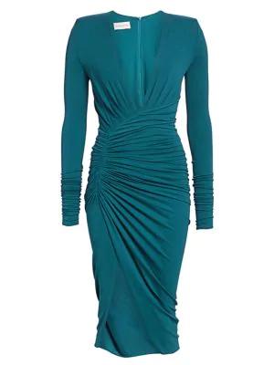 Alexandre Vauthier Women's Stretch Jersey Plunge Cocktail Dress In Cobalt