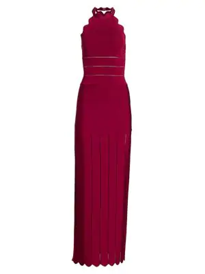 Herve Leger Women's Scallop Halterneck Bandage Gown In Pinot
