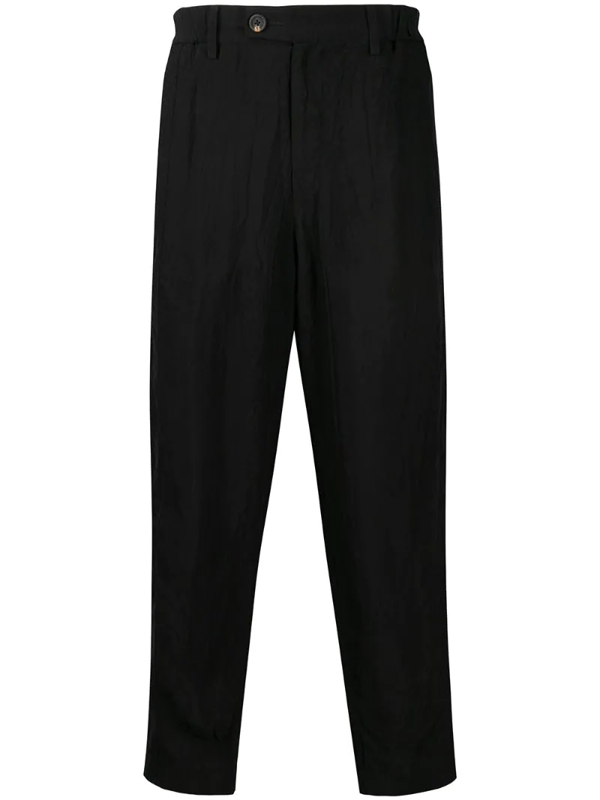 Ziggy Chen Creased Loose-fit Trousers In Black