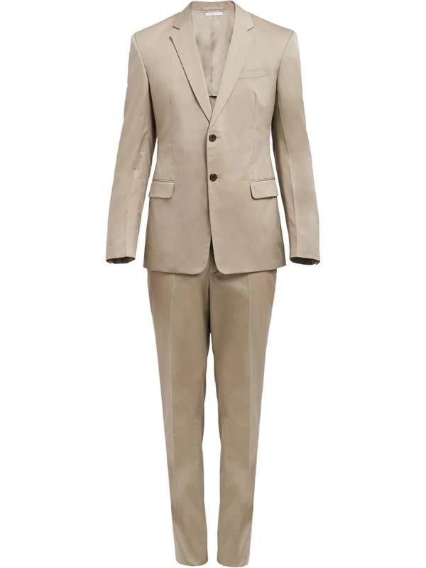 Prada Cotton Twill Slim-fit Suit In Neutrals