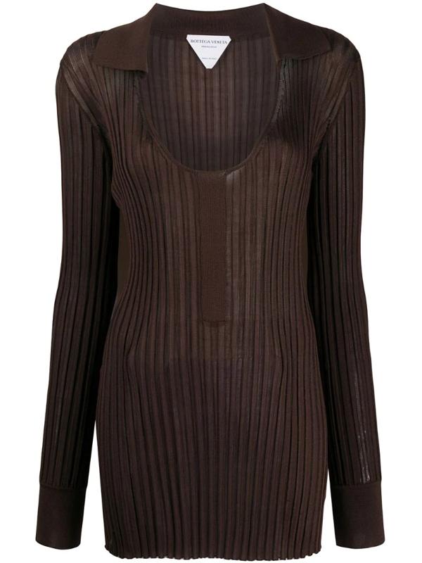 Bottega Veneta Rib-knit Open Collar Top In Brown