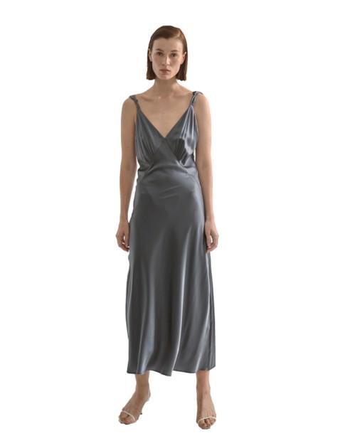 Viktoria Chan Melina Knot Silk Dress In Grey