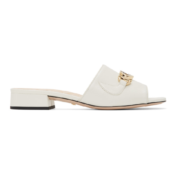 Gucci Women's Genuine Leather Slippers Sandals Zumi In 9050 White