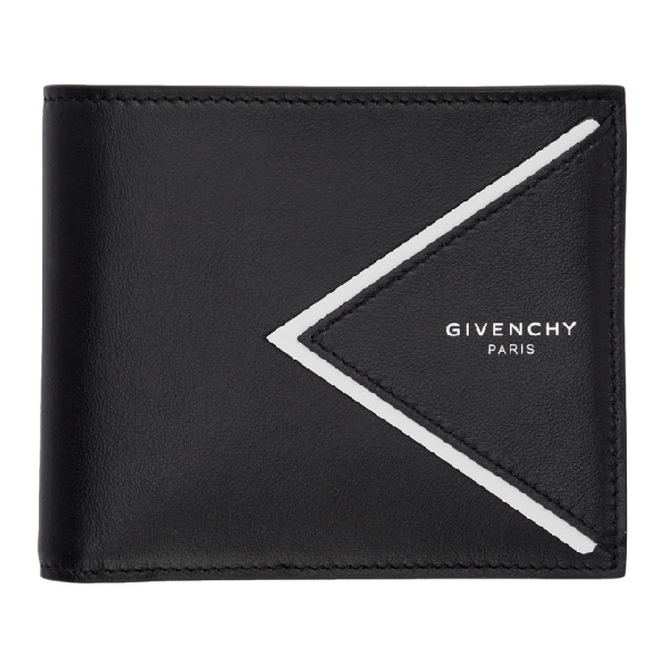 Givenchy Men's Genuine Leather Wallet Credit Card Bifold In 004 Blk/wht