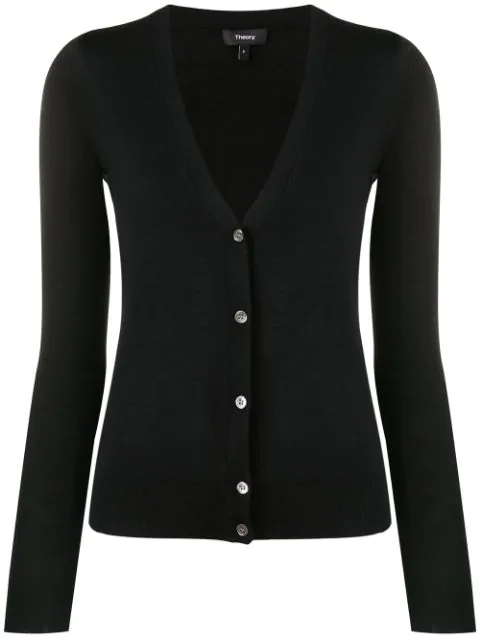 Theory Wool Blend V-neck Cardigan In Black