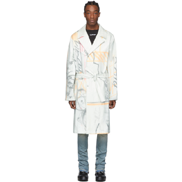 Off-white Abstract-print Cotton-blend Trench Coat In 0188 Whtmul