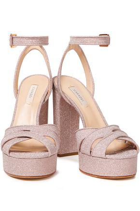 Casadei Selene Glittered Leather Platform Sandals In Lilac