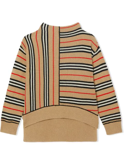 Burberry Teen Contrast Icon Stripe Cashmere Wool Sweater In Neutrals