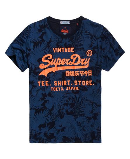 Superdry Shirt Shop Indigo All Over Print T-shirt In Blue