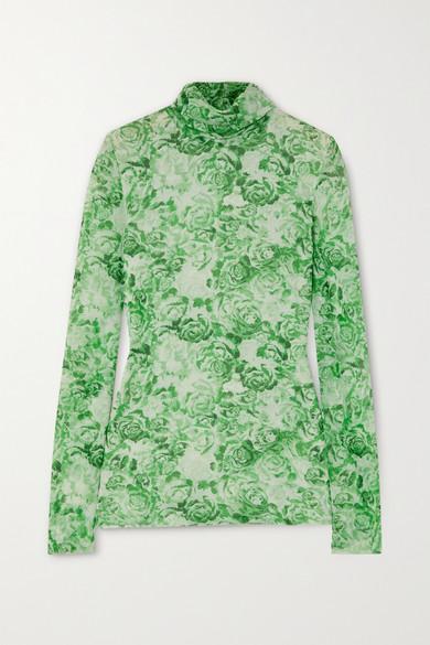 Ganni Floral-print Stretch-mesh Turtleneck Top In Light Green