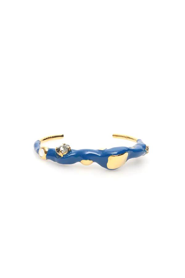 Marni Metal And Enamel Cuff Bracelet In Blue,gold
