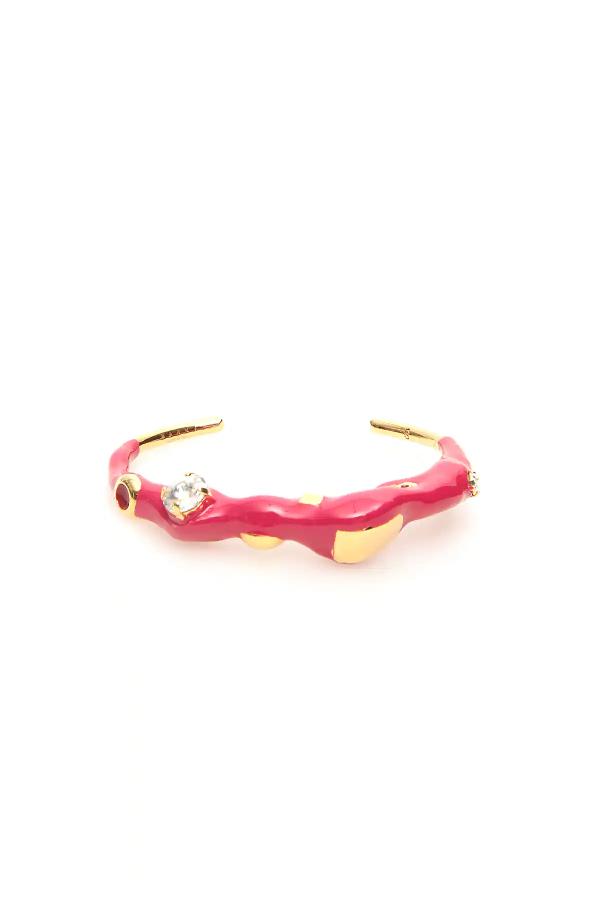 Marni Metal And Enamel Cuff Bracelet In Gold,fuchsia